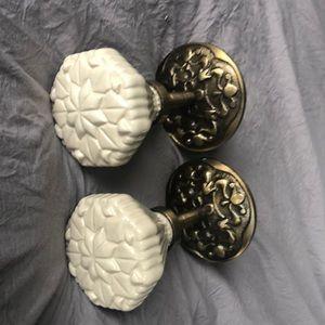 Anthropologie ceramic and brass curtain tie backs